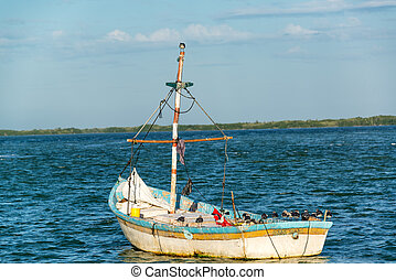 Old Worn Out Boat - Old worn out boat and seascape in Rio...