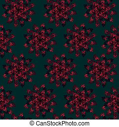 Colorful Seamless background with Red Flowers - Colorful...