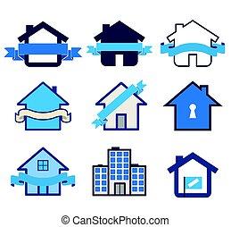 Real estate symbol house logos