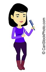 Hairstylist holding comb and scissors in hands. -...