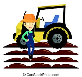 Farmer standing with tractor on background. - Asian farmer...