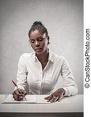 kvinna, arbete, affär