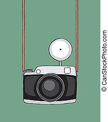 retro camera - Hand drawn sketchy retro camera. Strap and...