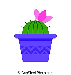 Vector flat style cactus in pot with pink flower on the top....
