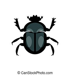 Vector flat style illustration of scarab beetle. Icon for...
