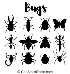 Vector monochrome set of various bugs.