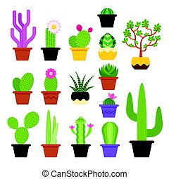 Vector flat colorful set of various cactus in pots. Icon for...