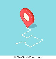 Red pointer and dotted line route. GPS navigation concept...
