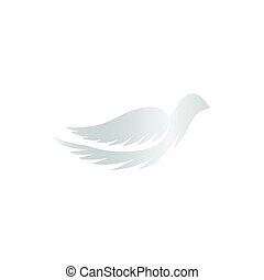 Isolated abstract silver color birds silhouettes logo on white background