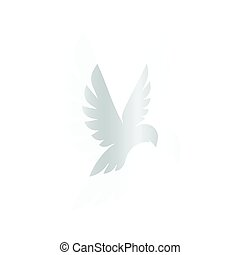 Isolated abstract silver color birds silhouettes logo on white background, wings and feathers elements logotype set vector illustration
