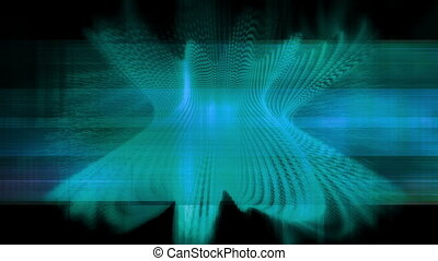 Blue wire frame on black CG looping animated VJ abstract...