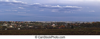Panorama of the city Kharkov, Ukraine view from mountain