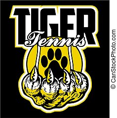 tiger tennis team design with paw print and claw for school,...