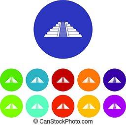Ziggurat in Chichen Itza icons set flat vector - Ziggurat in...