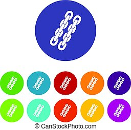 Chains icons set flat vector - Chains icons set in circle...
