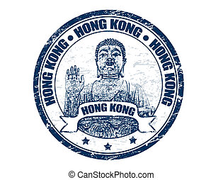 Hong Kong stamp - Grunge rubber stamp with the giant buddha...