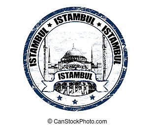 Istambul stamp - Grunge rubber stamp with mosque shape and...