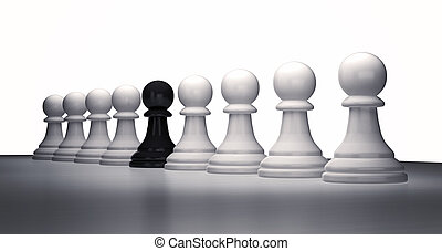 Row of chess pieces of white pawns 3d rendering