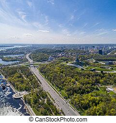 Panorama of Kiev city. Aerial view.