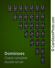 Dominoes bones set - Dominoes black bones double-six set,...