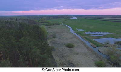 Aerial View. Flying over the River near pine forest
