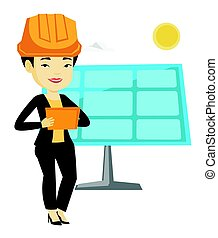 Asian worker of solar power plant. - Asian engineer working...