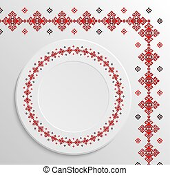 Table appointments in restaurant.. Decorative plate with...