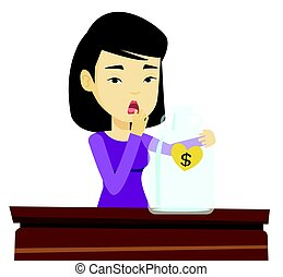 Bankrupt woman looking at empty money box - Worried asian...