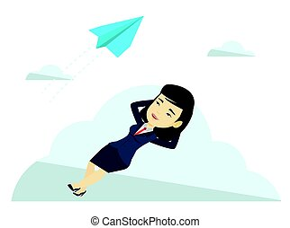 Business woman lying on cloud vector illustration. - Asian...