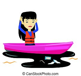 Woman floating in a boat in polluted water.