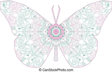 Silhouette of butterfly with circular ornament like...