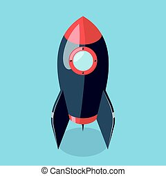 3d rocket spaceship isolated on blue background. Isometric...