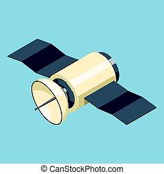 Communications satellite icon isolated on blue. Isometric...
