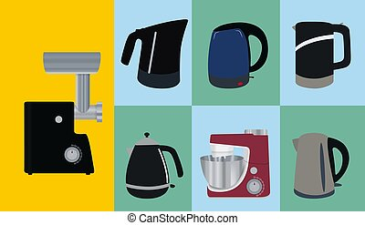 Set of Kitchen appliances. Electric kettle, meat mincer,...