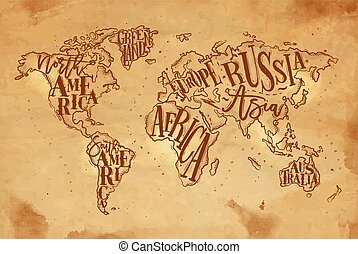 Worldmap vintage craft - Vintage worldmap with inscription...