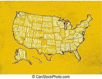 Map USA vintage yellow