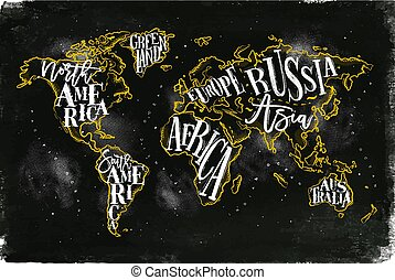 Worldmap vintage chalk yellow - Vintage worldmap with...