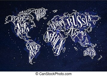 Worldmap vintage blue - Vintage worldmap with inscription...
