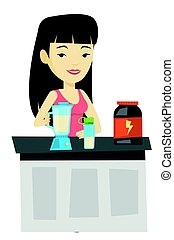 Young woman making protein cocktail.