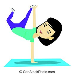 Young woman breakdancing vector illustration. - Young asian...