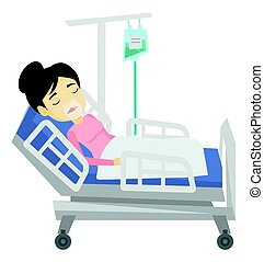 Patient lying in hospital bed with oxygen mask. - Asian...