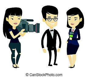 TV interview vector illustration. - Asian reporter with...