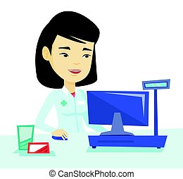 Pharmacist at counter with cash box. - Asian pharmacist in...