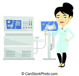 Asian ultrasound doctor vector illustration. - Doctor with...