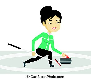 Curling player playing curling on curling rink. - Young...