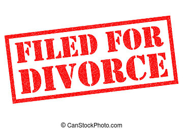 FILED FOR DIVORCE red Rubber Stamp over a white background.