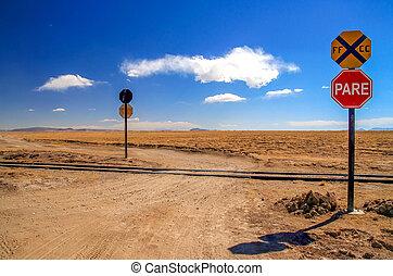 Remote railway crossing - Remote road crossing railtracks in...