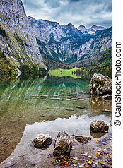 The lake Obersee - Berchtesgaden in Germany on the border...