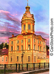 Colorful painting of church in Alexander Nevsky Lavra, Saint...