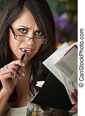 Beautiful Latina Woman with Many Bills